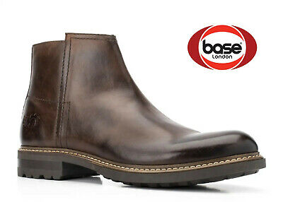 £36.98 • Buy Base London Mens Brown Leather Boots Zip Ankle Shoes New RRP £80 UK Size 10 & 11