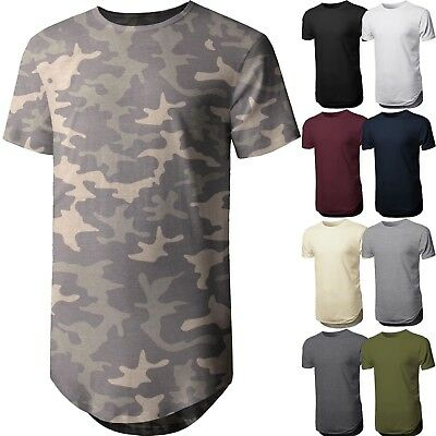 $7.99 • Buy Mens BASIC HIPSTER T Shirts Casual Extended Longline Back Hip Hop Tee Big Size
