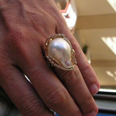 $122.50 • Buy Estate Silver 925 Yellow Gold Color 35 Mm Mabe Baroque Pearl Solitaire Ring