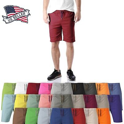 $18.99 • Buy Mens Cotton SHORTS Flat Front Summer Casual Twill Classic Slim Fit Beach Light