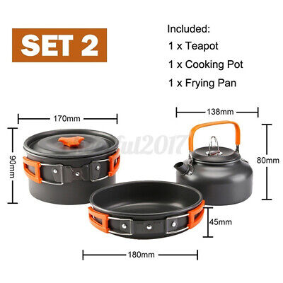 £20.59 • Buy Portable Camping Cookware Kit Outdoor Picnic Hiking Cooking Equipment Pan Kettle