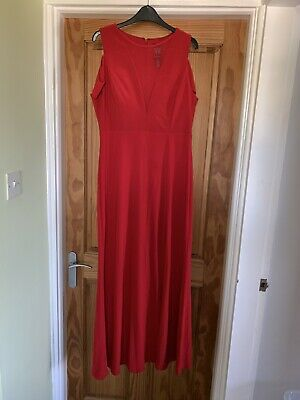 £0.99 • Buy Ladies Red Long Dress Dressy Evening Gown Prom Wedding Outfit Size 14 TK MAX