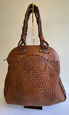 £22.25 • Buy Bohemia Brown Tan Leather Woven Shoulder Bag In Very Good Condition