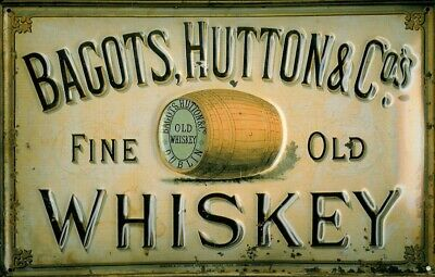 £14.95 • Buy BAGOTS HUTTON FINE OLD WHISKEY EMBOSSED METAL ADVERTISING PUB WALL SIGN 30x20cm