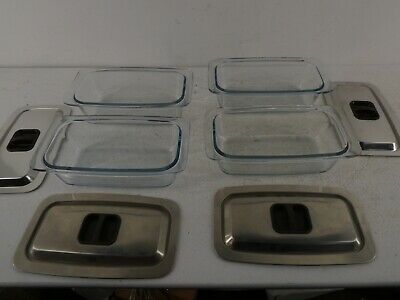 £60 • Buy Set Of 4 EKCO Hostess Trolley Serving Dishes And Lids Cookware Glass Pyrex. I24