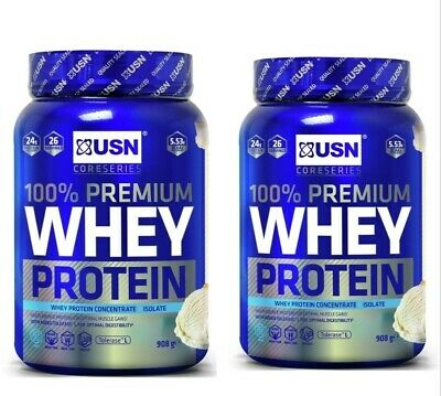 £36.99 • Buy USN 100% Whey Premium Protein Isolate Muscle Nutrition Powder - 2 X 908g
