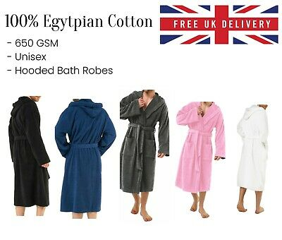 £20.95 • Buy Luxury Egyptian Cotton Bath Robe Towelling Hooded Dressing Gown Terry Towel Soft