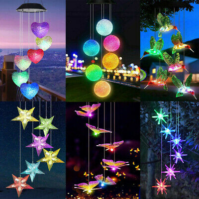 £9.89 • Buy Solar Powered Wind Chime LED Light Garden Hanging Decoration Lamp Outdoor NEW