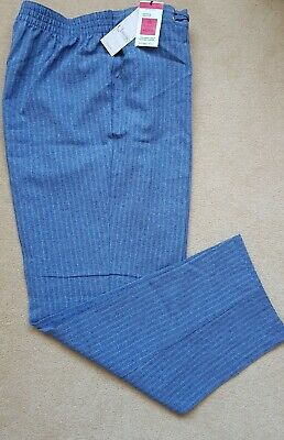 £4.99 • Buy M&S Ladies Lightweight Flat Front Trousers Size18 Straight Leg Blue Mix BNWT