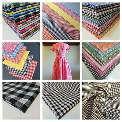 £2.75 • Buy Polycotton Gingham Fabric Check 1  Or 1/4  Or 1/8  Back To School Uniform Dress