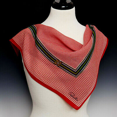 £10.62 • Buy Vintage PAPPAGALLO Silk Blend Houndstooth Scarf Red White Navy Brown Gold
