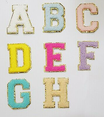 £2.29 • Buy Chenille Patch Letter Patches Iron On / Sew On Retro Alphabet Embroidery Gold
