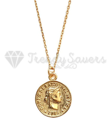 £3.99 • Buy Women 18ct Gold Plated Money Coin Round Choker Vintage Necklace Pendant GIft