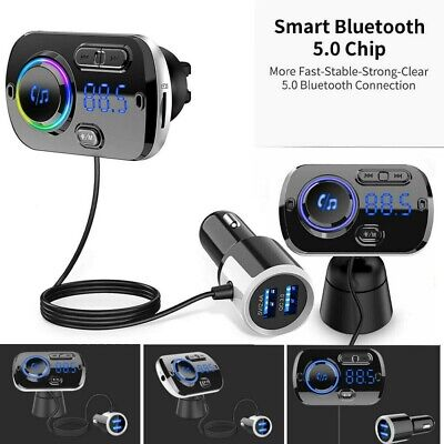 £12.39 • Buy Wireless Bluetooth Car FM Transmitter Kit 2 USB Charger MP3 Player AUX Handsfree