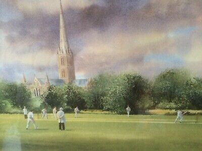 """£30 • Buy Terry Harrison Limited Edition Hand Signed Print """"Cricket At Salisbury"""""""
