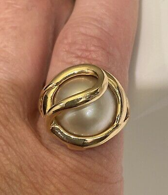 $185 • Buy Petite Size Mabe Pearl 14k Gold Ring Size 5.25