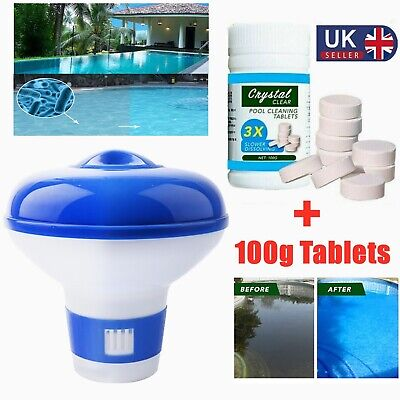£9.99 • Buy 100X Pool Cleaning Tablets & Floating Chlorine Hot Tub Dispenser Chemical Kit @