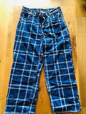 £12 • Buy Monki Blue Relaxed Jeans High Waisted Check Patterned Great Condition