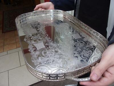 £10.50 • Buy Superb Vintage Viners Of Sheffield Silver Plated Ornate Gallery Edged Tray