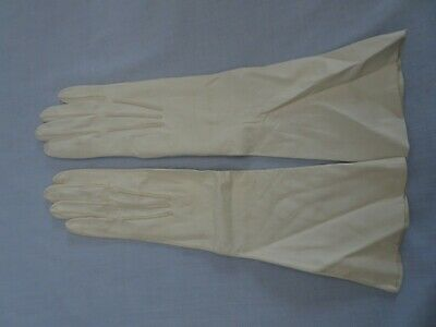 £9.63 • Buy Vintage Butter Soft Real Kid Leather Elbow Length Gloves Size 6-6.5 White Ivory