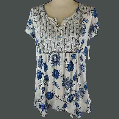 £12.03 • Buy Style&Co Womens Top White Blue Size XS Floral Short Sleeve Peasant Cotton Blend