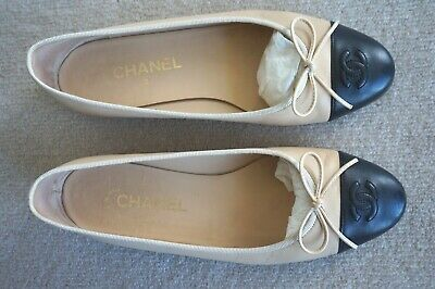 £376.23 • Buy 100% Auth. Chanel Two Tones Lambskin Leather Ballet Flats Shoes 39.5