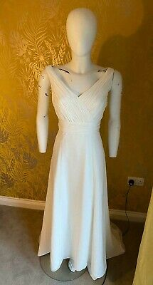 £95 • Buy Roman / Greek Style Ivory Wedding Dress Size 12-14 With Removable Train Vintage