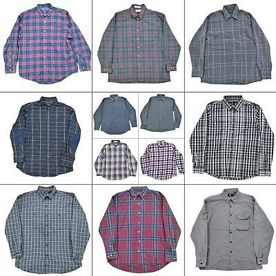 $49.97 • Buy Lot 12 Mens Long Sleeve Button Up Shirts Size Large Down Plaid Dress Casual Top
