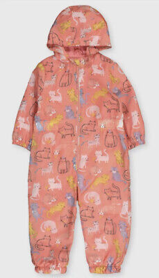 £10.99 • Buy ☆ New Peach Girls Cat Shower Resistant Rain Puddle Suit 18-24 Months 1.5-2 Years