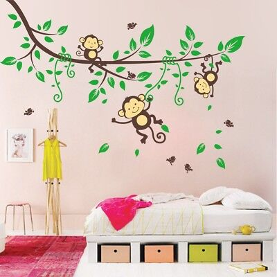 £5.86 • Buy Monkey Jungle Branches Kid Nursery Art Wall Stickers Decal Home Room Decor #on