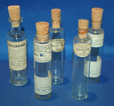 £24 • Buy A Set Of Five Glass Apothecary Bottles, Original Paper Labels, Cork Stoppers