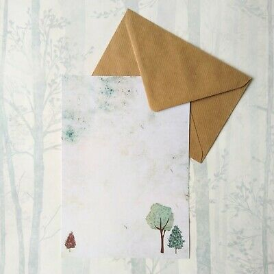 £3.99 • Buy Woodland Trees Letter Writing Paper And Envelopes Stationery Set Penpal Gift
