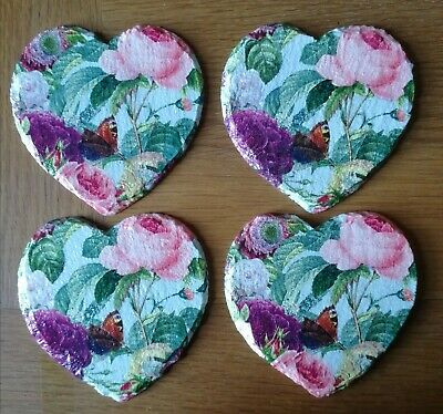 £13 • Buy Set Of 4 Slate Hearts Decoupage Homemade Drinks Coasters Butterfly's And Flowers