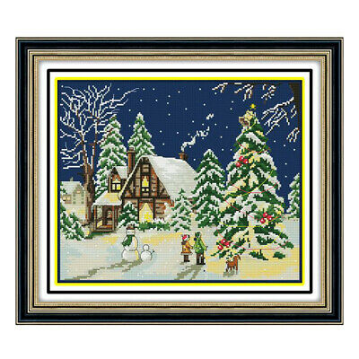 £7.51 • Buy Winter Scene Stamped Cross Stitch Kit For Children 11CT Count Embroidery DIY