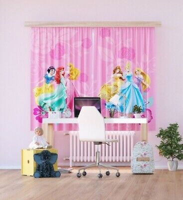 £28.98 • Buy Pair Of Ready Made Curtains Children's Bedroom Pink Disney Princess 180x160cm