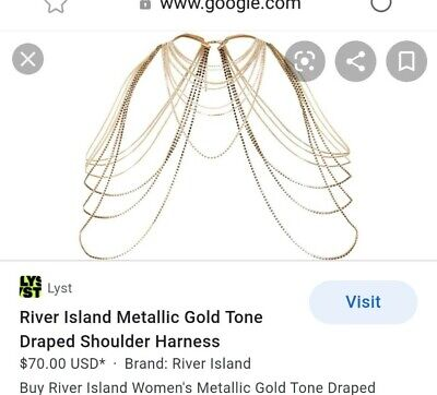 £9.99 • Buy Bnwt River Island Gold And Crystal Shoulder Jewellery Harness