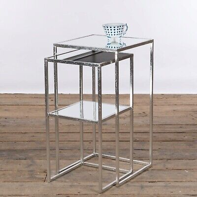 £89 • Buy *** Clearance *** Antique Silver Leaf Metal Glass Nest Of 2 Side End Tables