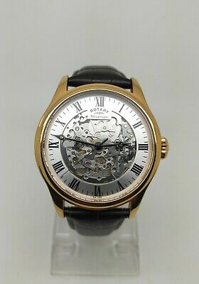 £32 • Buy GS02942/01 Rotary Mecanique Skeleton Automatic Men's Rose Gold Plated Watch