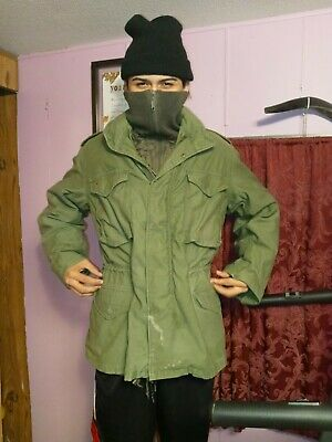$ CDN30.36 • Buy US Military M-65 Olive Green Field Jacket Small Long Army Marines Vintage