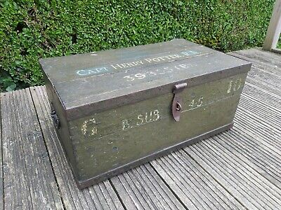 £75 • Buy Vintage Wooden Military Chest Trunk Captain Henry Potter ( Not Harry )