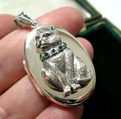 £75 • Buy Sterling Silver CAT LOCKET Pendant New Victorian Style English Hallmarked LARGE