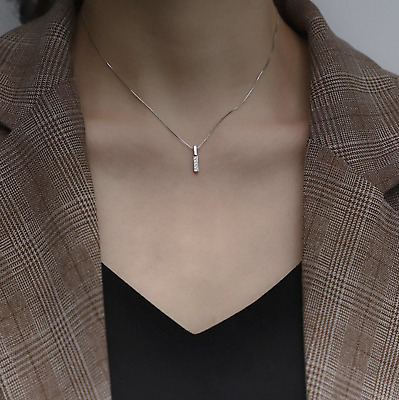 £4.99 • Buy 18ct Gold Plated Vertical Bar Necklace Chain Cubic Zirconia Pendant Necklace