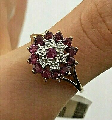 £162.13 • Buy Ruby And Diamond Flower Cluster Cocktail Ring In 10KY Gold