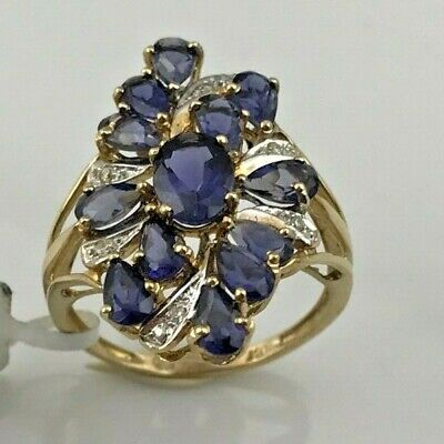 £269 • Buy 10KY Gold Iolite & Diamond Accents Cluster Cocktail Ring Sz. 7