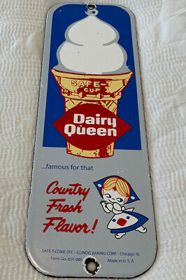 $149.46 • Buy Vintage Dairy Queen Porcelain Sign Milk Gas Blizzard Dilly Bar Ice Cream Cake