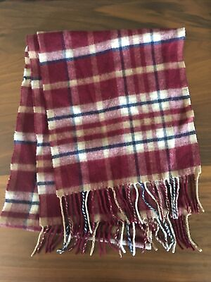 $25 • Buy Bloomingdale's MEN'S CASHMERE SCARF Burgundy Plaid Cream Navy Blue Gently Used
