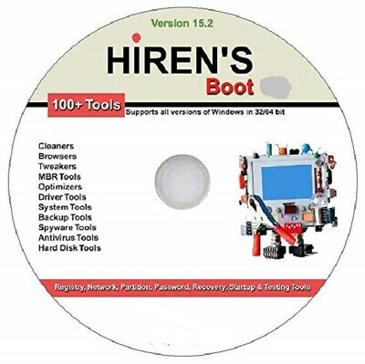 £3.49 • Buy Hiren's Boot Disc On Cd For Windows Xp Vista 7 8 8.1 10 To Fix & Repair On Cd