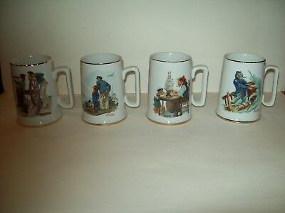 $ CDN13.91 • Buy Set Of 4 - 1985 Norman Rockwell Nautical Themed Coffee Cups Mugs With Gold Trim