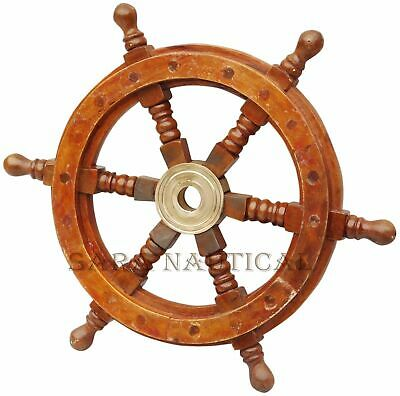 £23 • Buy 18  Brass Ship Steering Wheel Pirate Wooden Nautical Decor Wood Wall Boat Gift