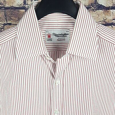 £61.94 • Buy TURNBULL & ASSER Mens White Red Striped French Cuff Dress Shirt 14.5-34